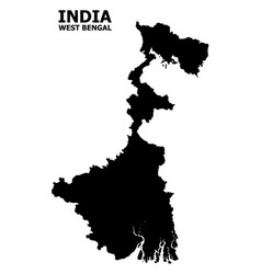 Flat map west bengal state with caption vector