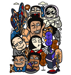 Funny crowd abstract people with different vector