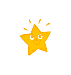 Funny star character with smiling human face vector