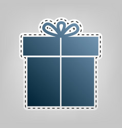 gift sign blue icon with outline for vector image