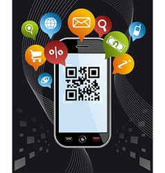 Go social via Smartphone QR code application on vector image
