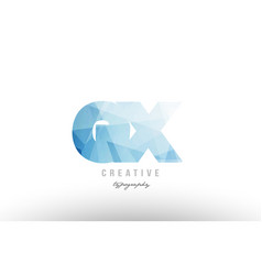 gx g x blue polygonal alphabet letter logo icon vector image