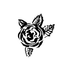 Hand drawn black color old school tattoo vector