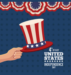 hand holding hat united states independence day vector image
