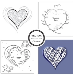 Hand sketched heart background vector