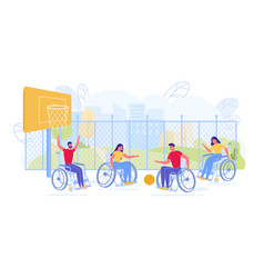 handicapped people on wheelchairs play basketball vector image