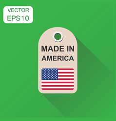 hang tag made in america with flag icon business vector image
