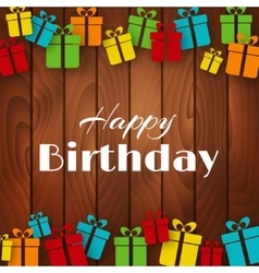 Happy Birthday greeting card with gift boxes vector image