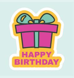 Happy birthday sticker with present box sign vector