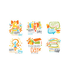 happy teachers day labels and badges original vector image