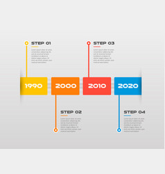 Horizontal steps timeline infographics a rectangle vector