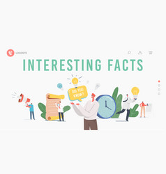 Interesting facts landing page template did you vector