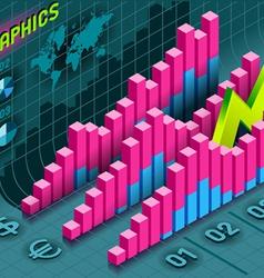 Isometric infographic histogram set elements vector