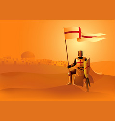 knight templar with flag and shield vector image