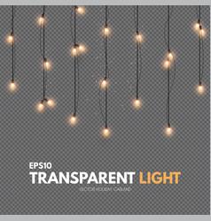 Light garland on transparent background shining vector