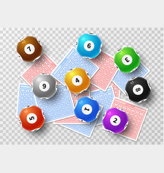 Lottery balls and bingo lucky tickets isolated on vector