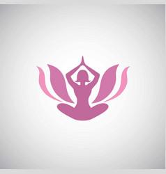 lotus yoga asana logo vector image