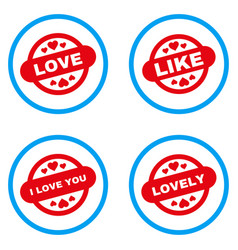 Love stamp seal rounded icons vector