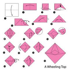 Make origami a wheeling top vector