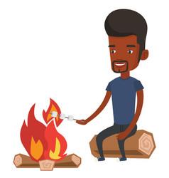 Man roasting marshmallow over campfire vector