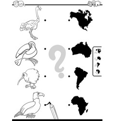 match animals and continents game coloring book vector image
