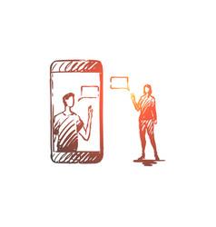 Mobile communication message woman vector
