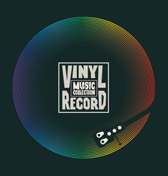 music poster with old vinyl record and player vector image