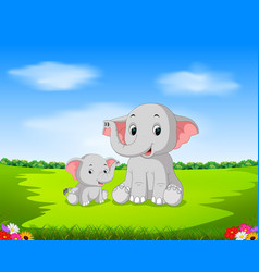 natural view with the mother elephant vector image