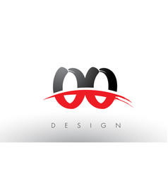 Oo o brush logo letters with red and black swoosh vector