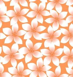 Orange tropical Plumeria and Hibiscus floral vector