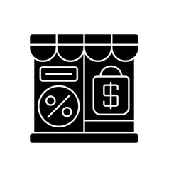 Outlet store black glyph icon vector