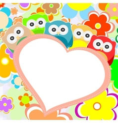 owls flowers and valentines heart vector image
