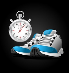 pair running shoes and stopwatch vector image