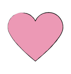 Pink heart healthy love feeling symbol icon vector