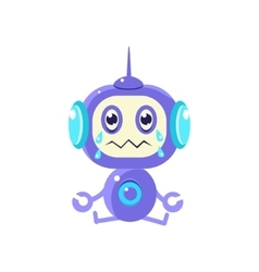 Robot Sitting Crying vector