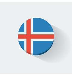 Round icon with flag of Iceland vector image