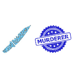 Rubber murderer seal stamp and fractal knife icon vector