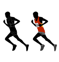 Runner in color sportswear and silhouette vector