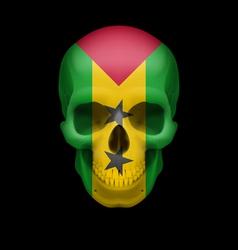Sao Tome and Principe flag skull vector