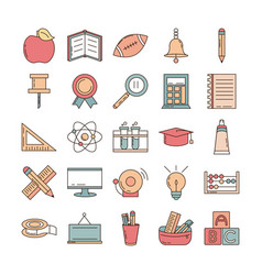 School education learn supply stationery icons set vector