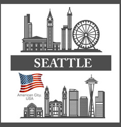 Seattle city skyline detailed silhouette on usa vector