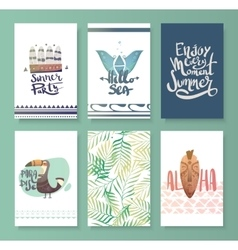 set bright summer card vector image