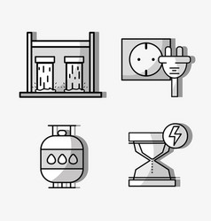 Set hydraulic energy with elements icons vector