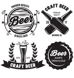 Set of craft beer badges with with design elements vector