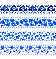 set of decorative borders in traditional russian vector image