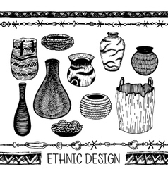 Set of hand drawing ware indians of north america vector