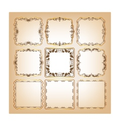 Set of square frames for greeting cards vector