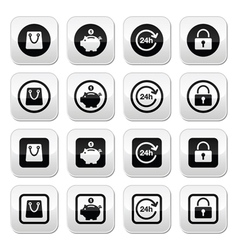 Shopping buttons set - account save 24h shoppin vector image