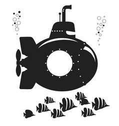 silhouette submarine undersea boat with fishes vector image