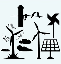 Solar panel and windmill wires on a pole vector image